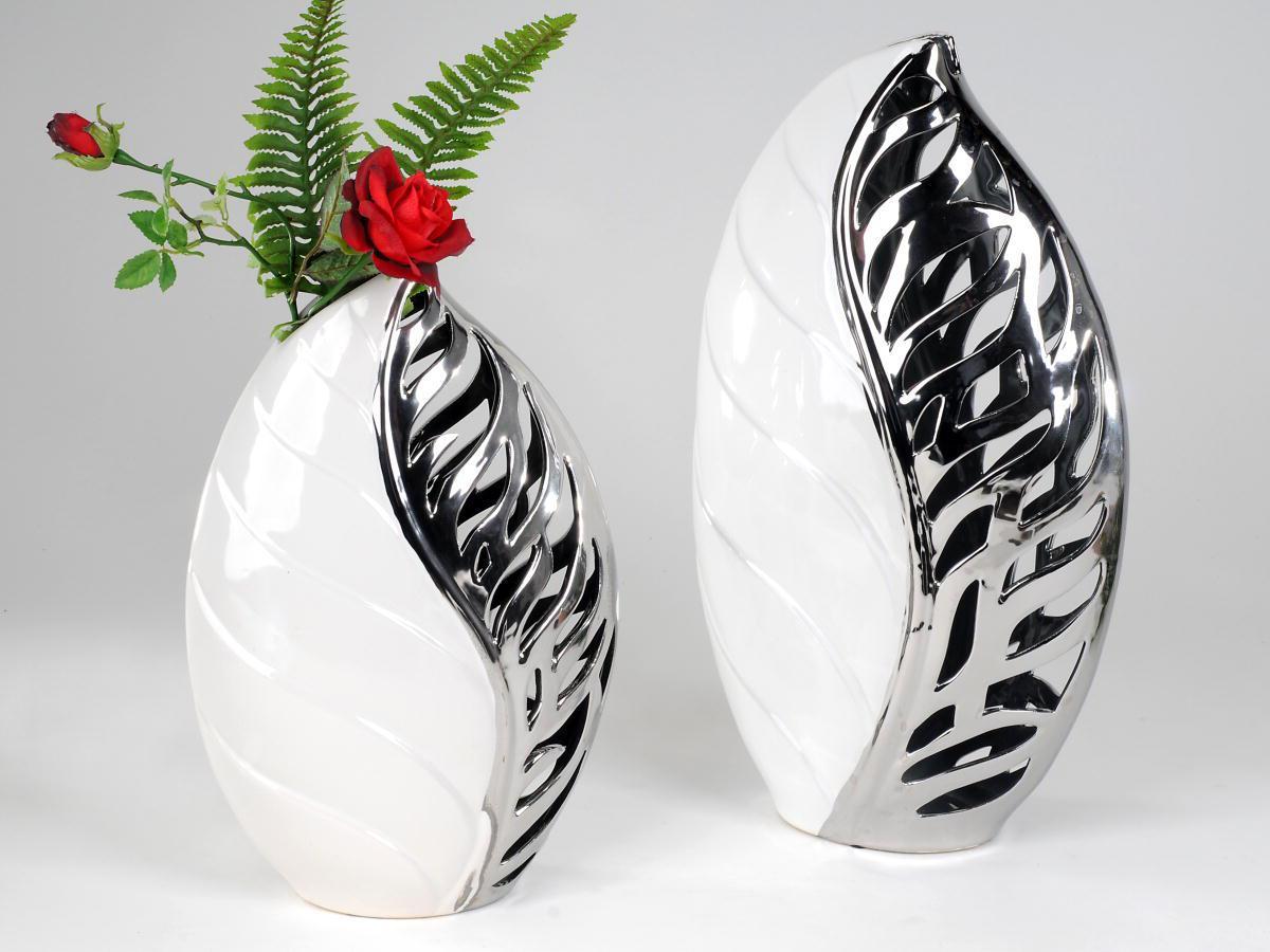 schicke dekor vase oder schale in blatt optik farbe weiss silber ebay. Black Bedroom Furniture Sets. Home Design Ideas