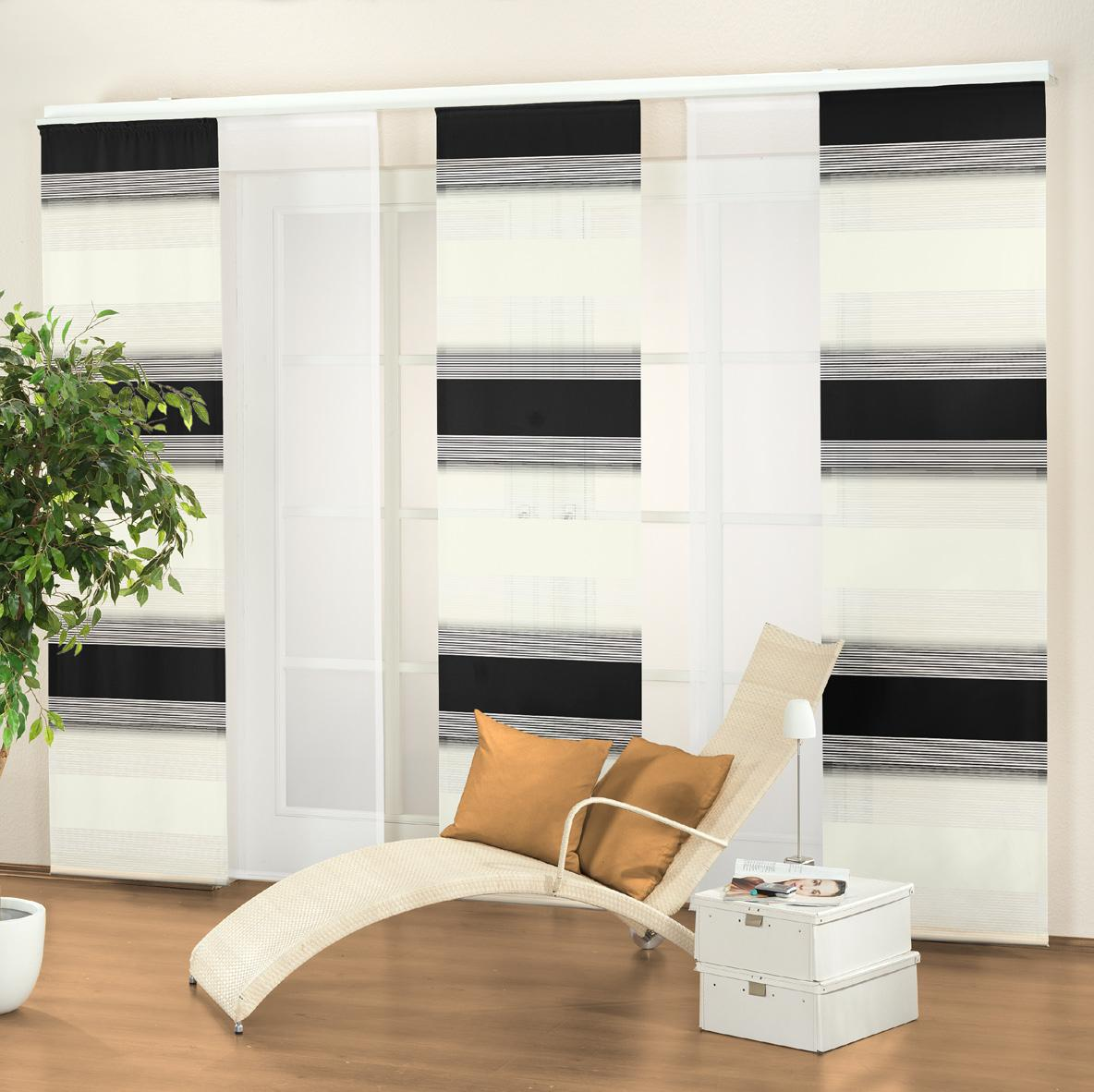 schiebe und fl chenvorhang shiraz 245 x 60cm 7 farben ebay. Black Bedroom Furniture Sets. Home Design Ideas