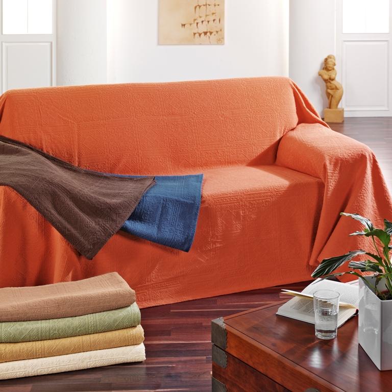 bett berwurf couch berwurf tagesdecke tavira 140 x 215cm in 7 farben ebay. Black Bedroom Furniture Sets. Home Design Ideas