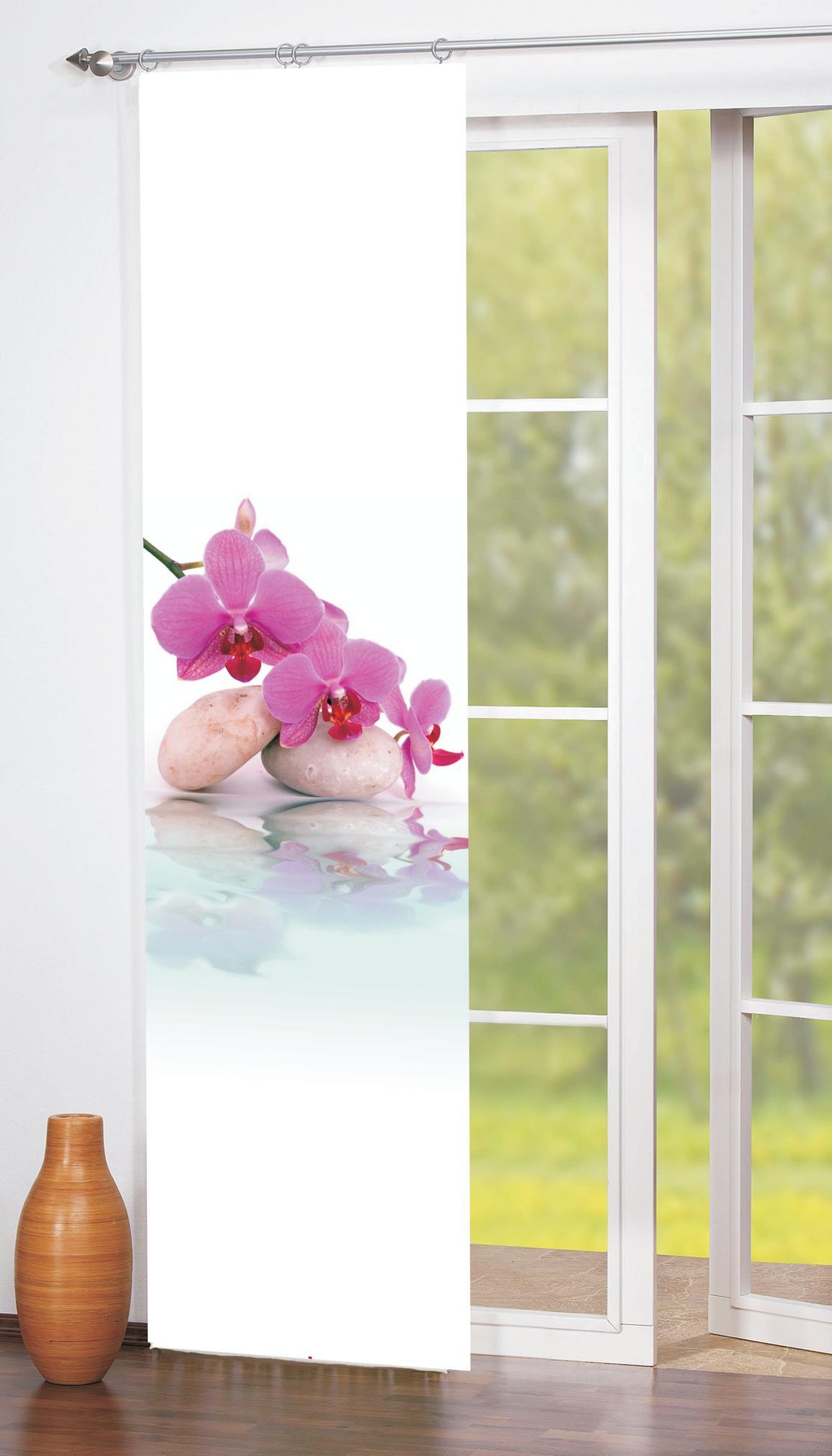 schiebe fl chenvorhang orchidee digitaldruck 245 x 60cm. Black Bedroom Furniture Sets. Home Design Ideas