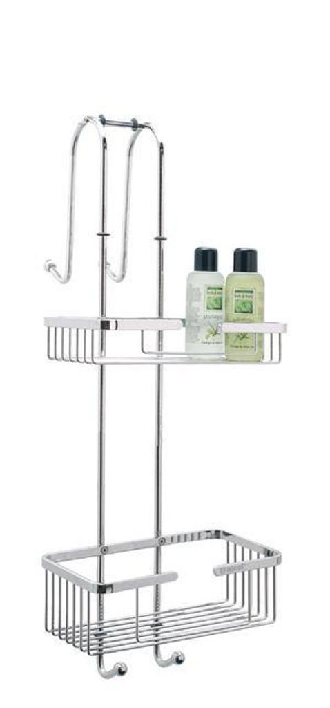 edelstahl duschregal napoli mit 2 ablagen f r duschwand rostfrei verchromt ebay. Black Bedroom Furniture Sets. Home Design Ideas