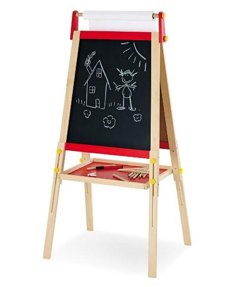 Standtafel Tafel Pablo Holz massiv natur//rot lackiert