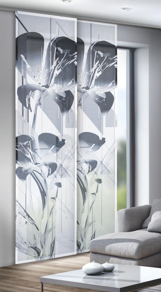 schiebevorhang fl chenvorhang trinity schwarz weiss digitaldruck ebay. Black Bedroom Furniture Sets. Home Design Ideas